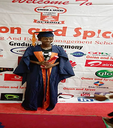 Education Project (Miss Elizabeth Onifade just graduated from School.of Catering)